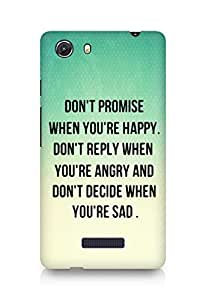 AMEZ dont promise when you are happy Back Cover For Micromax Unite 3