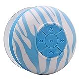 Aduro AquaSound WSP20 Waterproof Shower Bluetooth Portable Speaker (Blue Zebra)