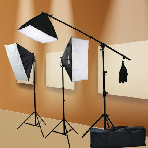 ePhoto-Digital-Photography-Video-2400-Watt-THREE-Softbox-Lighting-Boom-Hair-Light-Kit-H9004SB2