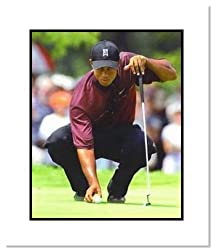 Tiger Woods PGA Golf Double Matted 8x10 Photograph Tiger Eyes Putting