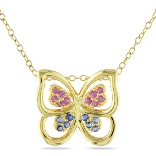 Yellow Silver 1/4 CT TGW Pink Sapphire and Light Blue Sapphire Butterfly Pendant