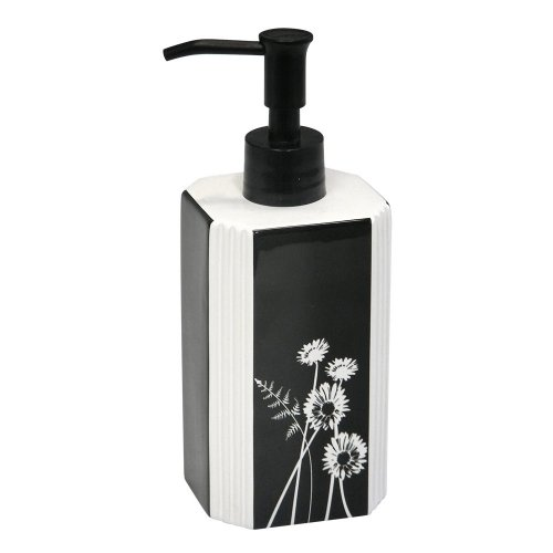 Exposed Floral Ceramic Lotion Bottle, Black/White