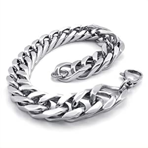 KONOV Jewelry Stainless Steel Wide Link Men's Bracelet, Silver, 8 1/2 Inch (with Gift Bag)