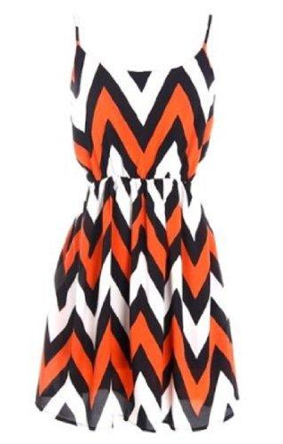 Tyche Fun Little Orange, Black, And White Chevron Dress With Spagetti Straps (small)