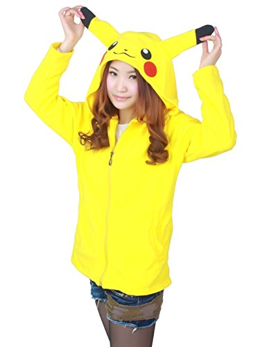 Women's Fashion Sweater Cartoon Picacho Casual Student Hooded Jacket (samll, yellow)