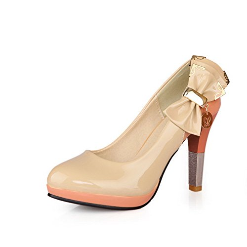 Vouge001 Womens Closed Round Toe High Heel Platofrm Patent Leather Solid Pumps with Bowknot and Metal