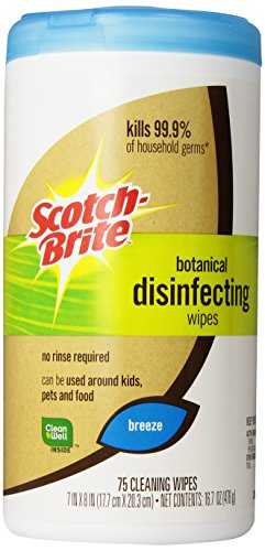 Scotch-Brite Botanical Disinfecting Wipes  DW-B75-A6, 1-Count, 75 Wipes (051141340913)