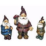 Set of 3 Garden Gnomes Statues Sculpture Yard