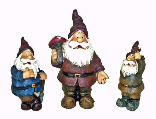 Set of 3 Garden Gnomes Statues Sculpture Yard