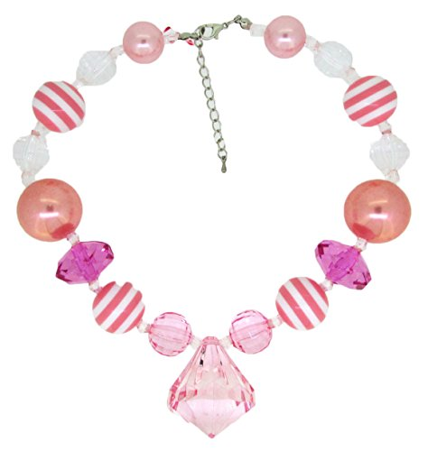 Hairbows Unlimited Baby Toddler and Girls Chunky Costume Jewelry Necklace (Pink & White w/Diamond Charm)