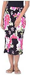 Legginstore Women's Floral Printed Three Forth (3/4) Skirt (LS-LongSkirt-Pink_S, Pink, S)