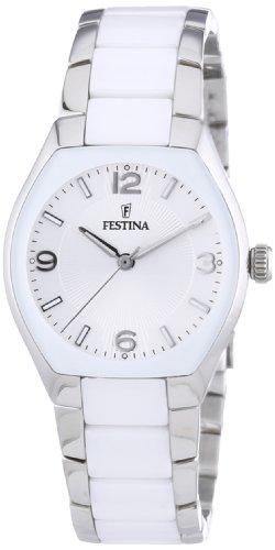 Festina Trend Ceramic F16533/1 - Reloj analógico de cuarzo para mujer, correa de cerámica color blanco