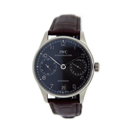 iwc-homme-42mm-bracelet-cuir-marron-boitier-or-blanc-saphire-automatique-cadran-gris-montre-iw500106