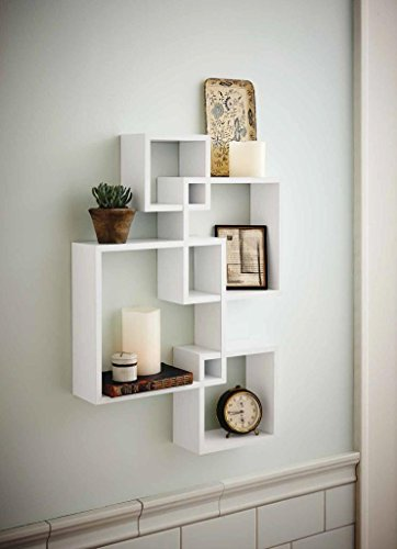 Shelving Solution Intersecting Squares Floating Shelf ,2 LED Candles Included (White)