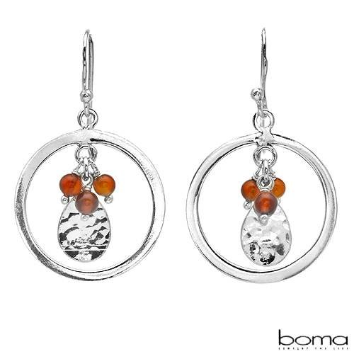 BOMA Nice Circle Earrings With 0.90ctw Genuine CARNELIANs Well Made in 925 Sterling silver Length 33mm
