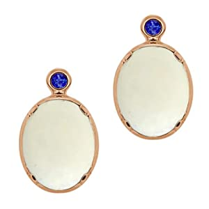 3.22 Ct Oval Cabouchon White Opal Blue Sapphire 18K Rose Gold Earrings