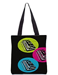 Snoogg Boombox Colourful Poly Canvas Tote Bag