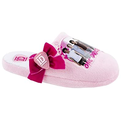 Character Junior Girls Pink One Direction Bow Slippers Size 2