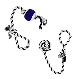 Two Tug of War Dog Knotted Cotton Rope Toys for Interactive Play (Toy Set #1)