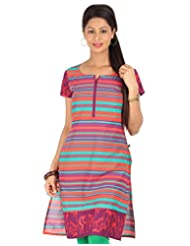 Cotton Red And Purple Stripe Printed Kurta From ESTYLe