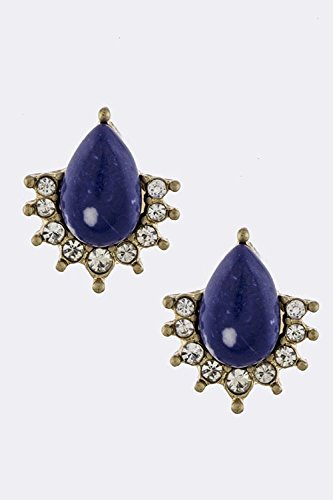Trendy Fashion Jewelry Crystal Lined Teardrop Earrings By Fashion Destination | (Blue/Gold)