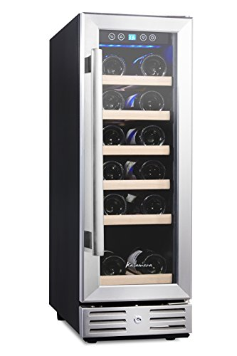 Kalamera 12'' Wine refrigerator 18 Bottle Built-in or Freestanding with Stainless Steel & Double-Layer Tempered Glass Door (In Cabinet Wine Fridge compare prices)