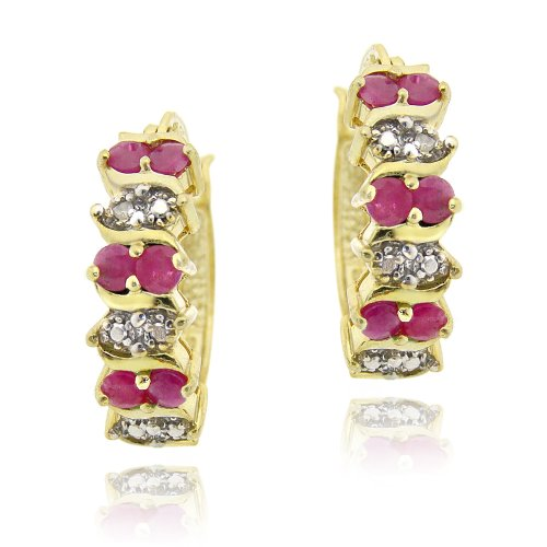 18K Gold over Sterling Silver Ruby & Diamond Accent Hoop Earrings