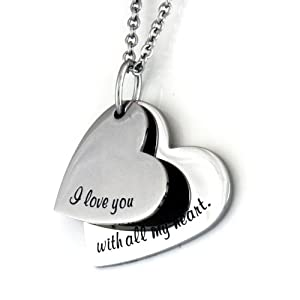 """Love Necklace, I Love You Necklace """"I love You With All My Heart"""" Engraved (2pcs) Heart Necklace 18""""Chain"""