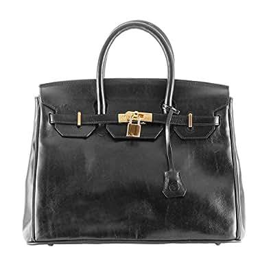 Maxwell Scott Bags ® Italienische Leder Henkeltasche im Birkin-Bag-Style in Schwarz (Barella)