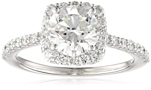 GIA Certified Cushion Halo Side Stones 1 1/2cttw Center - 2cttw 14k Rhodium Plated White Gold Engagement Ring, Size 6