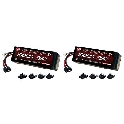 Venom 35C 2S 10000mAh 7.4V LiPo Battery with Universal Plug (EC3/Deans/Traxxas/Tamiya) x2 Packs