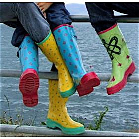 Vibrant, comfortable yet functional Women's Rain Boots, with striking Celtic designs