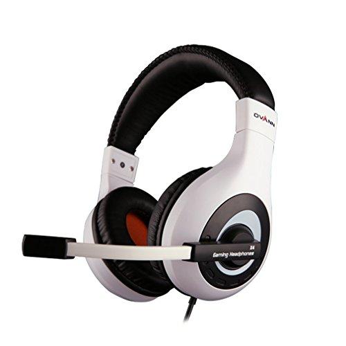 Ovann Stereo PC Gaming Headset, Over-Ear di illuminazione a LED, rumore che annulla le cuffie per PC del gioco, compresse, computer portatili con in-linea di controllo remoto, microfono regolabile (nero/bianco)