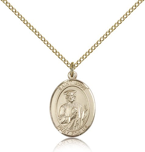 Genuine IceCarats Designer Jewelry Gift Gold Filled St. Jude Thaddeus Pendant 3/4 X 1/2 Inch With 18 Inch Gold Filled Lite Curb Chain. Made In Usa.