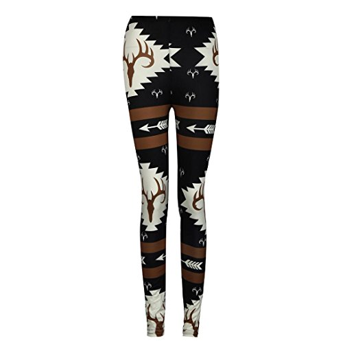 Oksale Women Skinny Vintage Printed Fitness Stretchy Yoga Pants Leggings (L, Black)