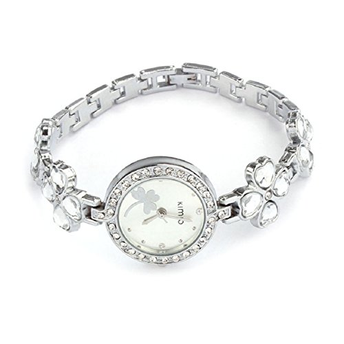 Doinshop Cute Four Leaf Clover Crystal Fashion Quartz Womans Bracelet Ladies Watch