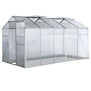 Serre de jardin - en aluminium et polycarbonate - 5,9 m² - 310 x 190 x 183 cm