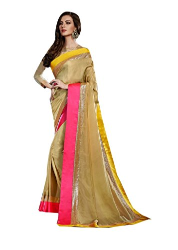 Viva N Diva Women's Beige Color Pure Satin Sarees For Womens Party Wear.