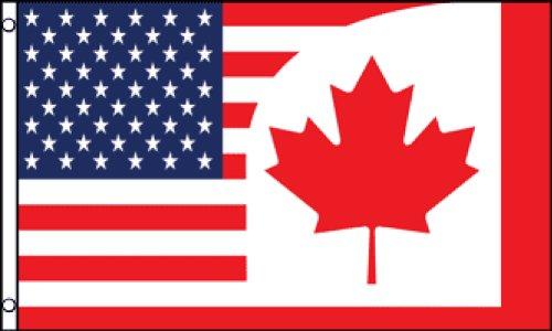 USA Canada Combination Flag 3x5ft Poly (Canada Usa Flag compare prices)