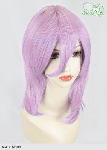 スキップウィッグ 魅せる シャープ 小顔に特化したコスプレアレンジウィッグ フェザーミディ ライトパープル