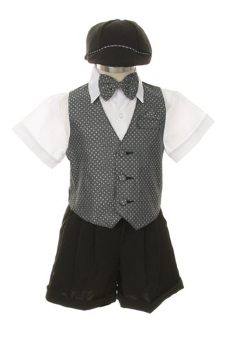 Dress Suit Outfit Set-Shorts,Bowtie,Vest, Short Sleeve Shirt & Hat for Infant Baby Boys & Toddler, Gray-White - 2T
