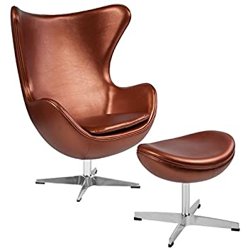 Flash Furniture Copper Leather Egg Chair with Tilt-Lock Mechanism and Ottoman
