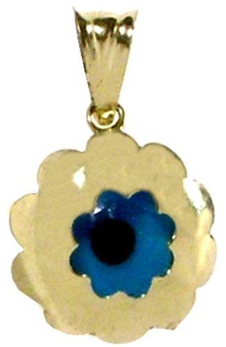 Evil Eye Gold Pendant 'Flower-in-Circle'