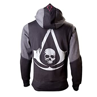Assassins Creed 4 Hoodie -M-, Black Grey Character