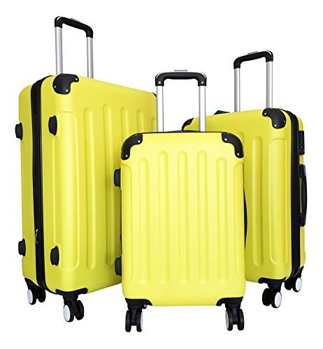 3-Pc-Luggage-Set-Hardside-Rolling-4wheel-Spinner-Upright-Carryon-Travel-ABS-Yellow