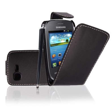 SAMSUNG GALAXY POCKET NEO S5310 VARIOUS PU LEATHER MAGNETIC FLIP CASE COVER+ STYLUS BY GSDSTYLEYOURMOBILE (Black)