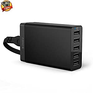 Anker 40W 5-Port Family-Sized Desktop USB Charger with PowerIQ Technology for iPhone 5s 5c 5; iPad Air mini; Galaxy S5 S4; Note 3 2; the HTC One (M8); Nexus and More (Black) by Hotfuleco