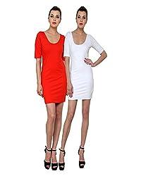 Finesse Women's Bodycon Dress Combo (White/ Red, XXXL)