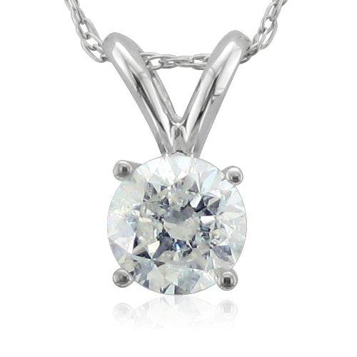 14k White Gold Solitaire Diamond Pendant Necklace (HI, I1-I2, 0.50 carat)