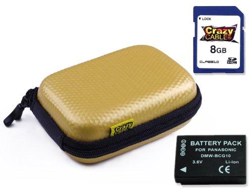 CrazyCase KHS1SA810E CRAZY Carbon Hardcase Kameratasche Kit inkl. Class 10 SDHC 8GB Speicherkarte, High Capacity Ersatz Akku für DMW-BCG10E (passend für Panasonic Lumix DMC TZ8/DMC TZ10/DMC TZ18/DMC TZ22/DMC TZ25/DMC TZ30/DMC TZ31/DMC TZ36) gold